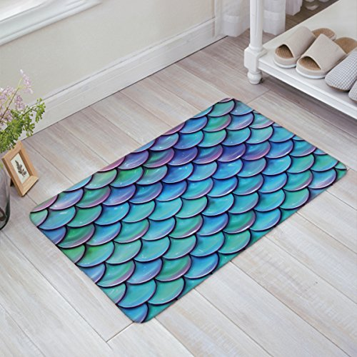 SIMIGREE Fantasy Gradient Fish Scale Door Mats Kitchen Floor Bath Entrance Rug Mat Absorbent Indoor Bathroom Decor Doormats Rubber Non Slip 18