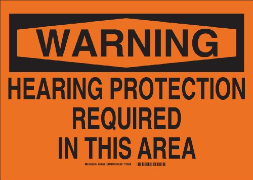 """Brady 83722 Self Sticking Polyester, 7″ X 10″ Warning Sign Legend, """"Hearing Protection Required In This Area"""""""