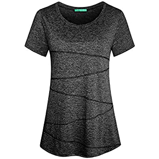 Kimmery Ladies Exercise Tops Womens Running Dressy Chic Fast Dry Shirts Essential Scoop Neck Stylish Breathable Blouses Short-Sleeved Seamless Stitching Knitted Slim Fit Clothes Black XL