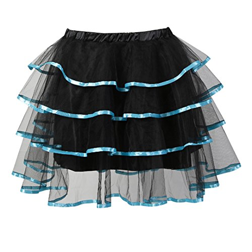 Kranchungel Women's Gothic Halloween Lace up Corset Skirt Moulin Rouge Party Clubwear 4X-Large/5X-Large Light Blue -