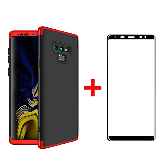 Case for Samsung Galaxy Note 9 Classical Black and Red Cover with Screen  Protector Tempered Glassed Film