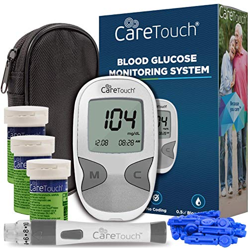 Care Touch Diabetes Blood Sugar Kit - Care Touch Blood Glucose Meter, 150 Blood Test Strips, 1 Lancing Device, 30 Gauge Lancets-with Carrying Case
