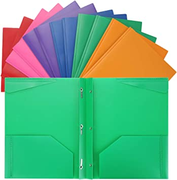 Assorted Colors,8 WOT I Plastic Folders with 2 Pockets and 3 Holes,Letter Size