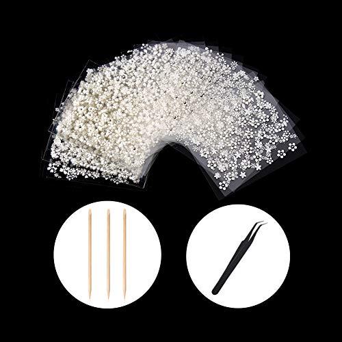 (WOKOTO 30pcs White Adhesive 3d Nail Stickers Flower Nail Art Decoration Accessory With 1 Pcs Anti-Static Tweezers And 5 Pcs Wood Nail Art Stick Cuticle Pusher)