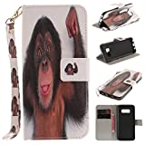Misteem Case for Samsung Galaxy S8 Plus Animal, Cartoon Anime Comic Leather Case Wallet with Bookstyle Magnetic Closure Card Slot Holder Flip Cover Shockproof Slim Creative Pattern Shell Protective Cover for Samsung Galaxy S8 Plus [Monkey]