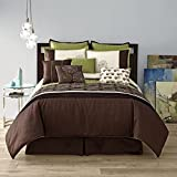 King Size Comforter Sets 110 X 96 10 Piece Modern GALAXY Bedding KING size Pinch Pleat Fine Embroidered Comforter Set in Sage Green / Chocolate Brown / Cream - Bed in a Bag set with accent pillows