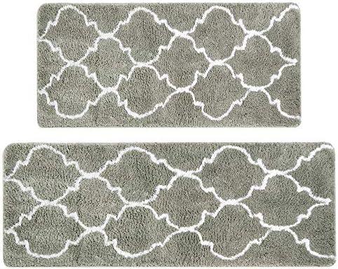 Grey,17/'/'x25/'/'+17/'/'x47/'/' Kitchen Rug Set,LEEVAN Moroccan Shag Microfiber Non-Slip TPE Rubber Backing Soft Absorbent Comfort Area Runner Mat Floor Carpet For Kitchen Bathroom Entrance Rug Machine Wash