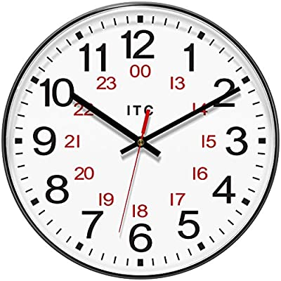 "INFINITY/ITC 90/1224-1 Combination 12/24 Hour Clock, 12"" Diameter - Infinity/Itc. 12"" 12/24 Hour Clock-Black Overall Diameter: 12"". Plastic Case: . Operates On One Aa Battery, Not Included Infinity/Itc - wall-clocks, living-room-decor, living-room - 51cWfT49SgL. SS400  -"