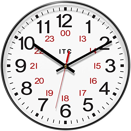 "51cWfT49SgL - INFINITY/ITC 90/1224-1 Combination 12/24 Hour Clock, 12"" Diameter"