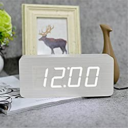 HOMECLVS Modern Calendar Alarm Clocks,Thermometer Wooden Clocks,LED Clock Big Numbers with Digital Clocks White White