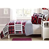 Fancy Linen 4 pc Full Size Bedspread Coverlet Reversible Plaid Red Gray White Black New # Plaid