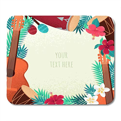 Mouse Pads Guitar Percussion and Conga Drums Maracas Palm Leaves and Tropical Flowers for Beach Party Ethnic Mouse Pad for Notebooks,Desktop Computers Mouse Mats, Office Supplies