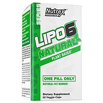 Nutrex Research Lipo-6 Natural | Plant Based All Natural Fat Burner | Coffea Robusta, Cocoa Extract, Ashwagandha, Apple Cider Vinegar, Grains of Paradise | 60 Count