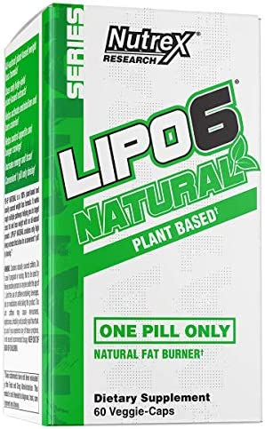 Nutrex Research Lipo-6 Natural Plant Based All Natural Fat Burner Coffea Robusta, Cocoa Extract, Ashwagandha, Apple Cider Vinegar, Grains of Paradise 60 Count