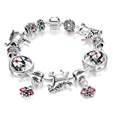 All American Saddles Horse Charm Bracelet Pink Bead Charms, Crystal Charms, Pink Beads, 20 cm