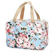 Toiletry Bag for Women Portable Cosmetic Bag Large toiletries Organizer Storage Bag Navy Rose Toiletry Kit Leakproof…