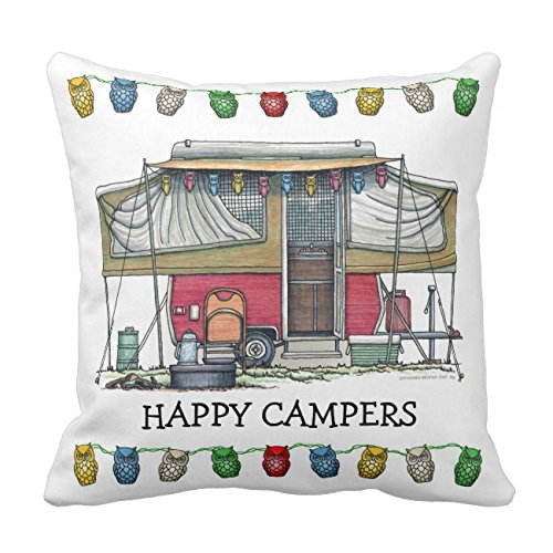 UOOPOO Cute RV Vintage Popup Camper Travel Trailer Throw Pillow Case 16 x 16 Inches Square Soft Polyester Cushion Cover for Sofa One Side