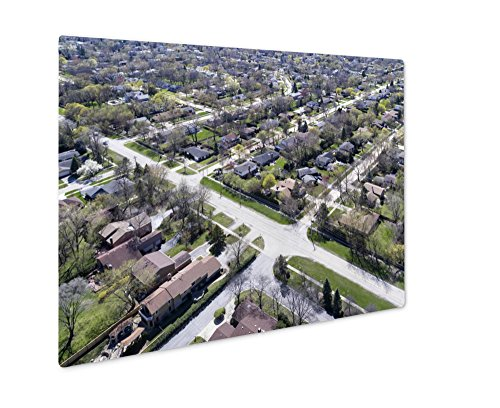Ashley Giclee Metal Panel Print, Aerial View Of Suburban Neighborhood, Wall Art Decor, Floating Frame, Ready to Hang 8x10, - Northbrook Court Illinois
