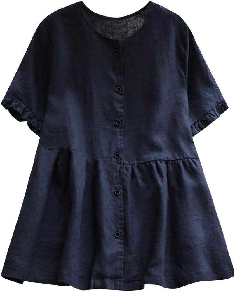 Luckycat Blusa Lino de Mujer Manga Corta Primavera y Verano 2019 Blusa Moda Señora Escote V Asimetricas Camisetas Costura Botón Ropa para Mujer Fiesta Camisa Ancho Tallas Grandes: Amazon.es: Ropa y accesorios