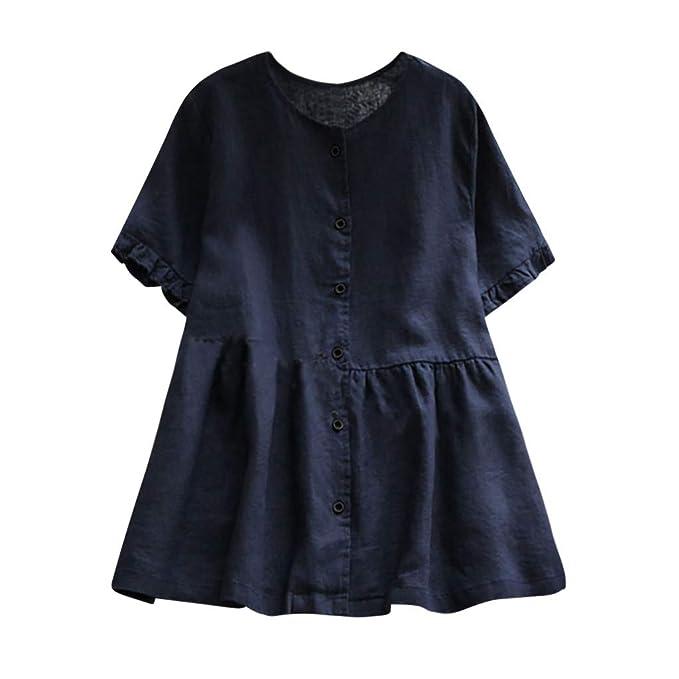 Manadlian Camisetas Mujer Manga Corta, Camiseta Casual Mujer Túnica Botón Botones Sólidos Blusa Suelta Camisa De Lino Talla Extra: Amazon.es: Ropa y ...