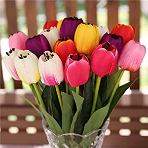B bangcool 16 Branches Artificial Flower Decorative Simulated Tulip Fake Flower for Easter Decor 5