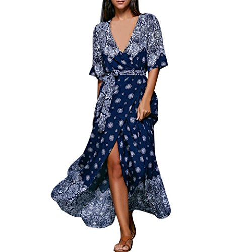 Stripe Kaftan (Amiley Bohemia Sexy Women Half Sleeve Printed V Neck Beach Party Casual Long Kaftan dress (XL, Blue))