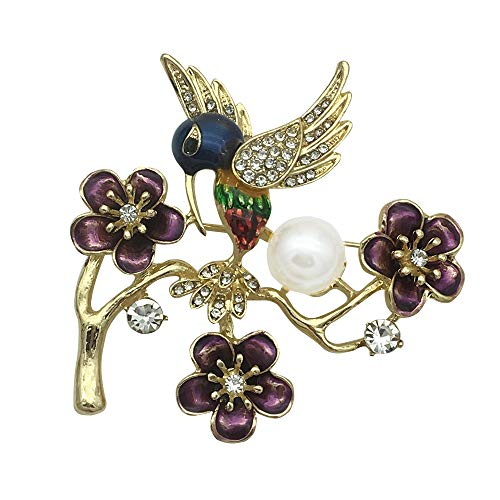 Earofcorn New Drip Oil Enameled Rhinestone Alloy Plum Magpie Forest Small Bird Pearl Brooches Clothing - Bird Enameled Pin