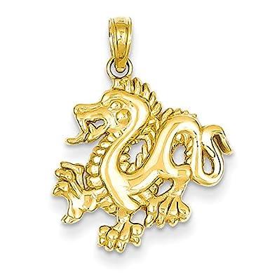 Amazon 14k yellow gold dragon pendant jewelry 14k yellow gold dragon pendant aloadofball Choice Image