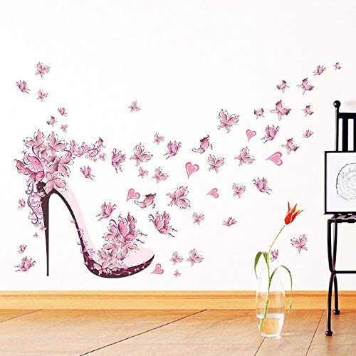 Best Choise Product Flying Butterflies high Heel Shoes Heart Flower Wall Sticker PVC Wall s Decor Girl's Room Decor Poster Mural