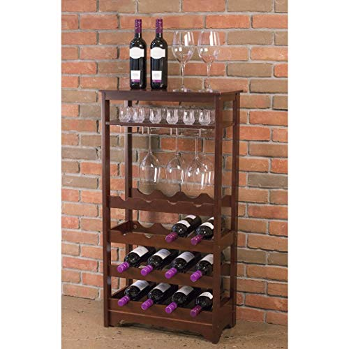 16 Bottle Wine Racks Free Standing Floor Unit, with a Table Top for Serving and Storage Space Below! This Vertical Espresso Wine Rack Is Modern and Stylish! ()