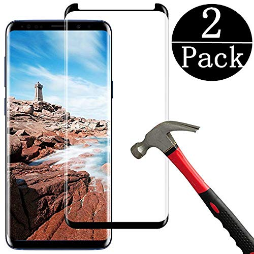 EcoPestuGo Compatible (Black) for Galaxy S9 Plus Tempered Glass Screen Protector, EcoPestuGo [2 Pack][Half Screen] Case Friendly,Anti-Scratch,Anti-Fingerprint,Bubble Free Compatible S9 Plus by EcoPestuGo