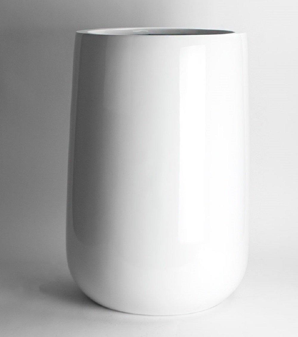 Shiny White Orchid Flower Pot - Fiberglass Planter Pot 23.5'' High x 15'' Diameter - by VaseSource