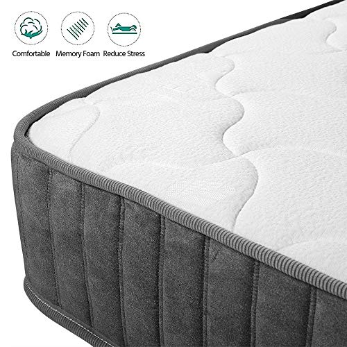 Yaheetech 3FT Single Mattress 9-Zone Pocket Sprung Mattress with Memory Foam and Tencel Fabric Medium Firm Feel 22CM…