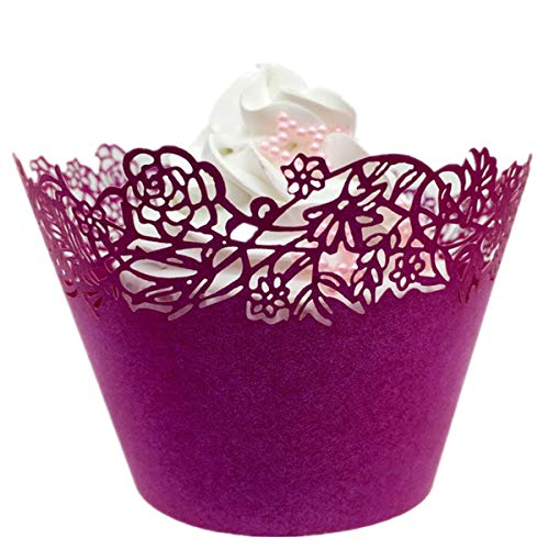 - 120 Pcs Laser Cut Cupcake Wrapper Liner Baking Cup Muffin Case Trays Wedding Birthday Party Decoration - Little Rose (Burgundy)