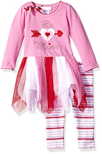 Bonnie Baby Baby Girls Heart Appliqued Dress and Legging Set, Be Mine, 24M