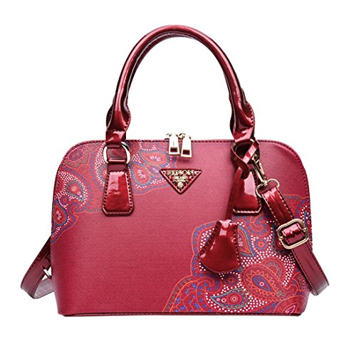 Gift Faux Body Elegant Lady Floral Handbag Red Cross Chic Verlike Leather Shell Bag Print TqYwg7z