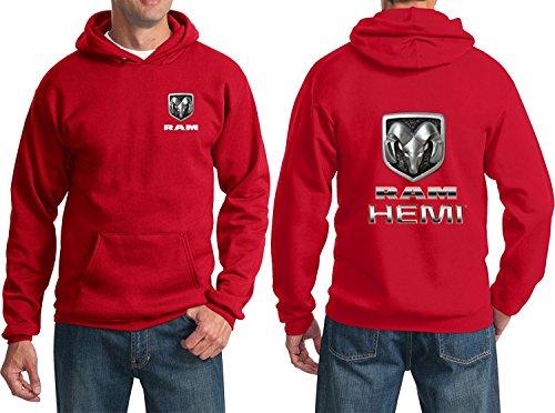 Lucky Ride RAM Hemi Logo Dodge Emblem Mopar Badge Sweatshirt Hoodie(Front & Back), Red, XL