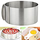 3 IN 1 Cake Ring Set 6 to 12 Inch Adjustable Retractable Stainless Steel Ankoow Circle Round Mousse Tiramisu Mold with 1PCS Egg White Separator 1PCS Cake Edge Smoother Decorating Scraper Cutter
