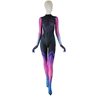 Sombra Costume Overwatch Undersuit Girl Game Cosplay Suit (M)