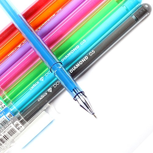 JX CCS-01 Colored Gel Ink Pen ,Diamonds Needle Tip Fine Point Rollerball Pen,Pack of 8 Assort Vibrant Colors