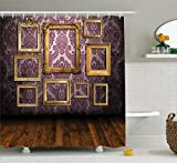 Ambesonne Antique Decor Collection, Old Style Interior Wall Decorated with Classic Picture Frames Damask Pattern, Polyester Fabric Bathroom Shower Curtain, 84 Inches Extra Long, Golden Eggplant Wood