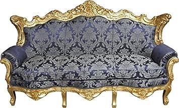 Casa Padrino Barock Sofa Master Royal Blau Muster Gold