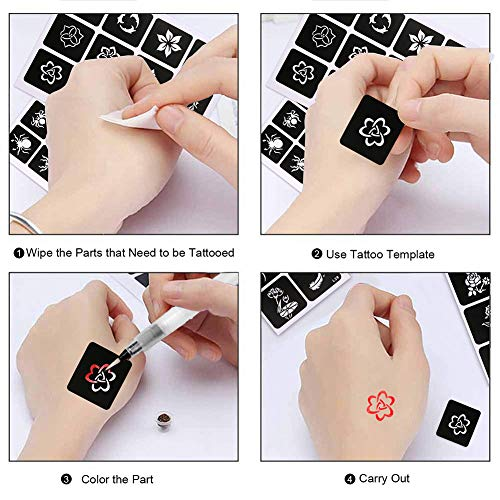 Koogel 434 PCS Semi Permanent Tattoo with Body Painting Pen,20 Sheets Girls&Boys Tattoo Stencil Temporary Tattoos for Women Body Art Template