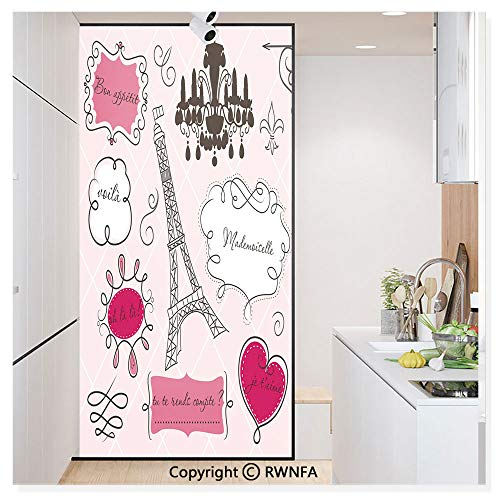 Window Film No Glue Glass Sticker Doodle Frames French Style Rococo Baroque Lantern Mademoiselle Print Static Cling Privacy Decor for Kitchen Bathroom 17.7x59.8inches,Hot Pink Black