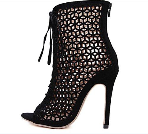 ZPFME Femmes Escarpins Open Toe Talon Haut Stiletto Cut Out Lace-Up Chaussures Romaines Chaussures De Mariage Du Soir Black