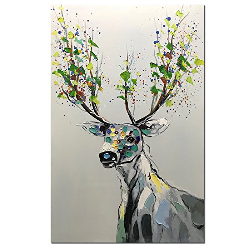 Asdam Art-Abstract Colorful Deer Painting On Canvas 100% Hand Painted Animal Artwork Wall Art fot Living Room Dining Room Bedroom Home Office Modern Wall Décor(24X36inch) by Asdam Art