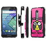 Motorola [Moto X Style] Pure Edition [Moto X Play] Armor Case [SlickCandy] [Black/Black] Heavy Duty Defender [Kick Stand] Phone Case - [Hoo is There Owl] for [Moto X Style] [X Play]
