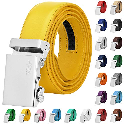 Falari Men Unisex Genuine Leather Ratchet Dress Belt Automatic Sliding Buckle - 20 Variety Colors - Trim to Fit (8170 - Yellow, XL - Fit from waist 28 to 42