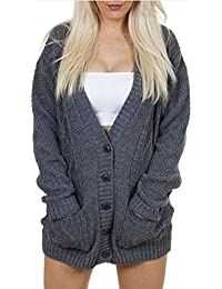 Women's Ladies Long Sleeve Pocket Cable Knit Chunky...