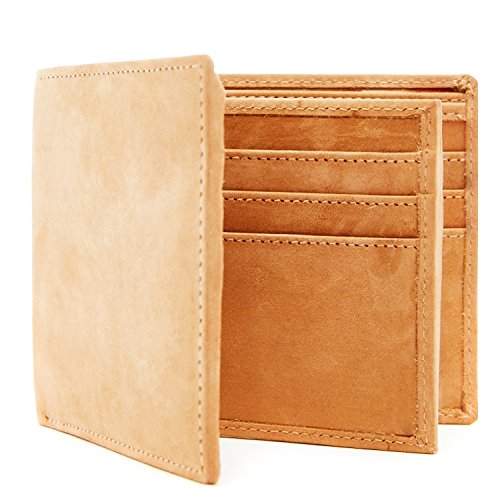 Genuine Leather Wallets For Men - Bifold Mens Wallet With ID Window RFID Blocking